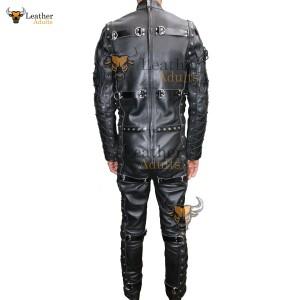 Mens Real Cowhide Leather Bondage Suit Black LEATHER Heavy Duty Catsuit LARP