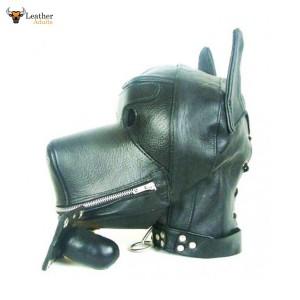 Quality Leather Dog Puppy Bondage Hood / Mask & Mouth Gag NEW Fetish