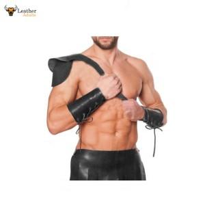 Leather Black Roman Gladiator Kilt Set with Gauntlets LARP MOST SIZES
