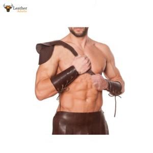 Leather Brown Roman Gladiator Kilt Set with Gauntlets LARP MOST SIZES