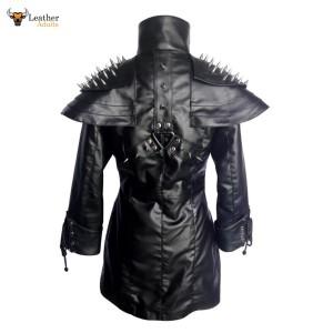 BLACK LADIES SHEEP LEATHER STEAMPUNK GOTHIC COAT – T25