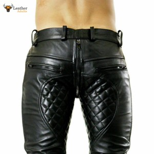 MENS REAL COW LEATHER BLACK SHORTS with FULL FRONT to REAR ZIP Clubwear Leisure