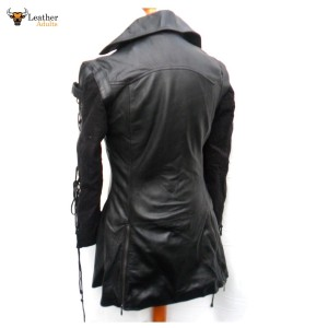 Black GOTH Leather Coat Ladies LAMB'S LEATHER Gothic Steampunk Jacket