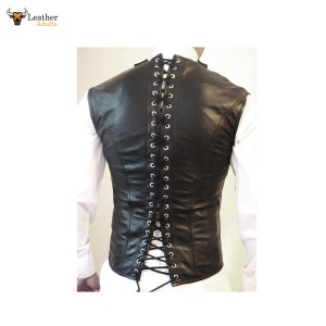 Men's Leather Steel Boned STEAMPUNK Waistcoat Vest Corset GOTH Victorian