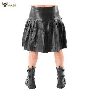 Men's Leather Kilt Pleated with Twin Buckles Most Sizes