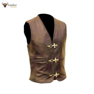 Men's PURE COWS Brown Leather Biker Style Waistcoat Vest Most Sizes