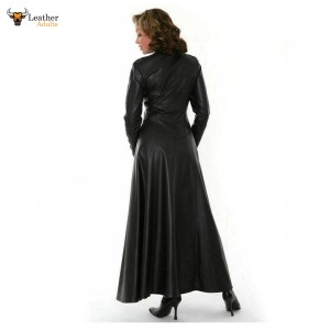 Women Real Nappa Leather Catsuit Matrix Coat Long Sleeves Sexy Dress Casual Wear