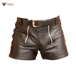 MEN'S 100% GENUINE BROWN LEATHER SHORTS with DOUBLE ZIPPER