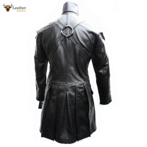 Black GOTH LAMBS LEATHER COAT Ladies Gothic Punk Rock Steampunk Jacket