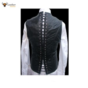 Men's Real Leather Steel Boned STEAMPUNK Waistcoat Vest Corset GOTH Victorian