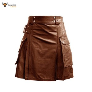 Leather Brown Utility Kilt Twin CARGO Pockets Pleated with Twin Buckles Mens