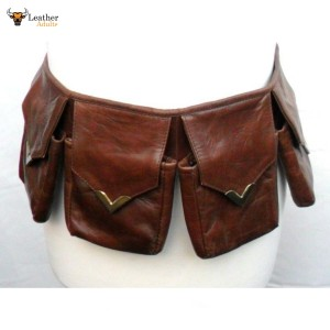 Leather Steampunk Bandolier 4-Pouch Fully Adjustable Belt