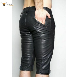 Genuine Leather MOTO Pants Cropped Fitted Front Zip Closure Fetish Kink HOT Gay
