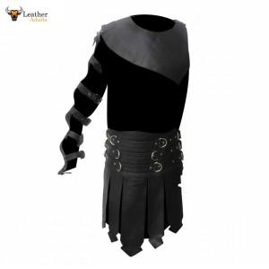 Men's Leather Roman Gladiator Kilt Set – K3 -BLK