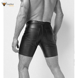 New Black Real Leather jean style mid thigh shorts Cod Piece Front opening Gay