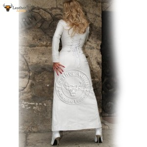 Womens Ladies Real Nappa Leather Long White Leather Dress Gown Suit Gothic Trench Coat