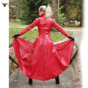 Womens Ladies Pure Lambskin Nappa Leather Long Red Leather Dress Gown Suit Gothic Trench Coat
