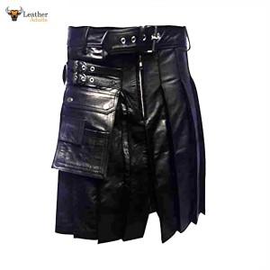 Leather Gladiator Pleated Kilt – K5 -BLK