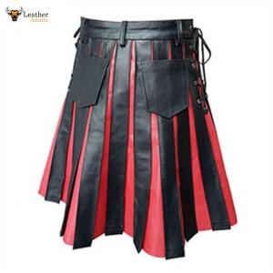 Mens BLACK RED Leather Gladiator Pleated Utility Kilt FLAT FRONT Pocket Wrap – K10-BLK-RED