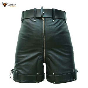 MEN'S LEATHER BONDAGE / LOCKING CHASTITY SHORTS Genuine Cow Leather