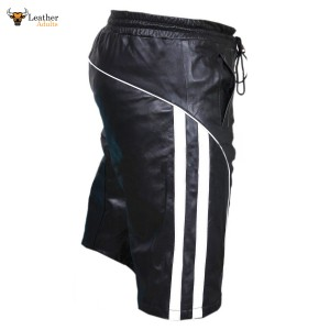 MENS REAL LEATHER BLACK and WHITE SHORTS Clubwear Genuine Cow Leather