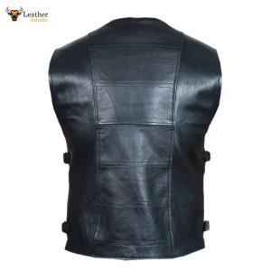 Black Mens Real Leather Gilet Biker Cut Waistcoat Vest Most Sizes VEST 21