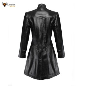 Ladies Black Leather Steampunk Style Trench Coat – T9 – BLK