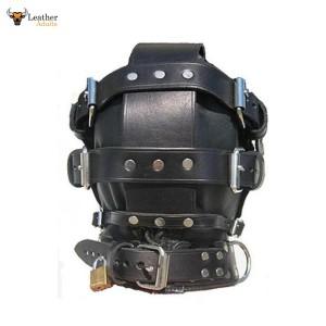 GENUINE LEATHER BONDAGE HOOD / MASK with LOCKING MOUTH & BLINDFOLD Gimp mask
