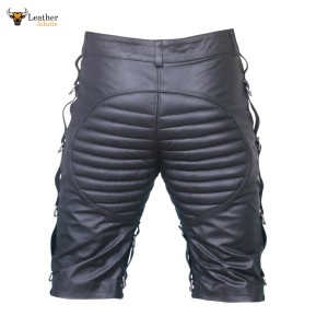 MENS REAL LEATHER BLACK SHORTS Clubwear or Bondage Genuine Cow Leather